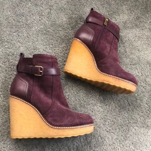 Tory Burch Purple Wedge Bootie